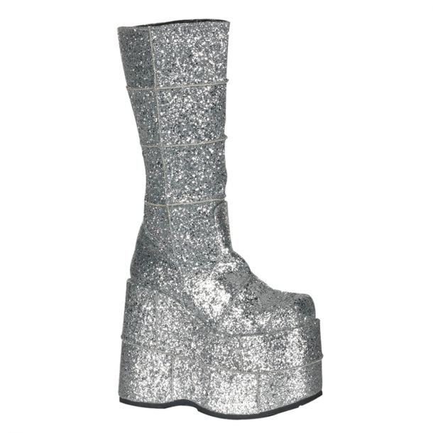 Plateau Stiefel STACK-301G - Glitter Silber*