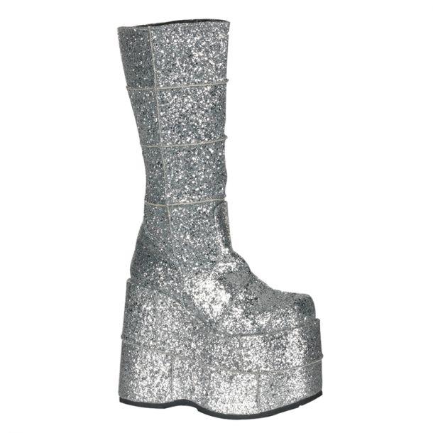 Plateau Stiefel STACK-301 : Glitter Silber*