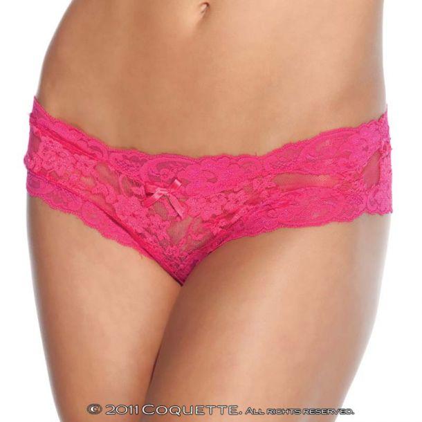 Spitzen-Panty ouvert - Fuchsia