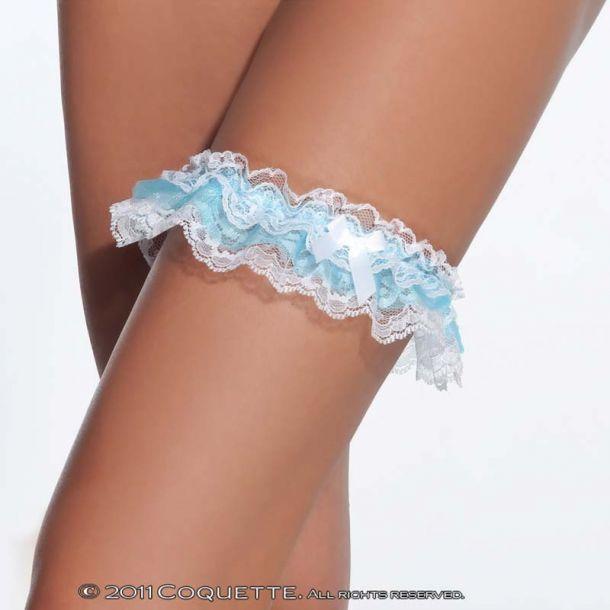Strumpfband aus Spitze - Weiß/Blau
