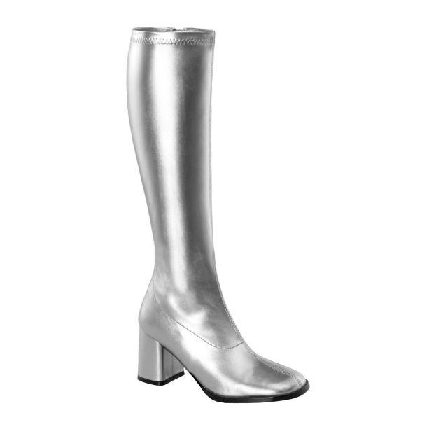 Retro Stiefel GOGO-300 : PU Silber*