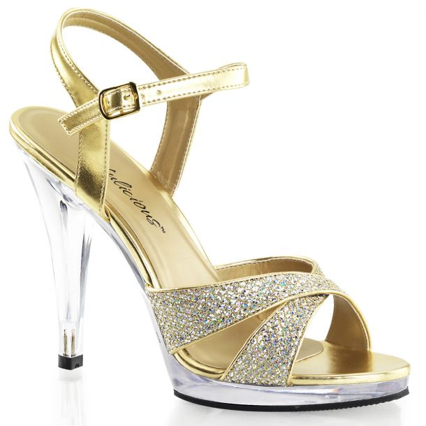 Plateau High Heels FLAIR-419G- Gold/Klar
