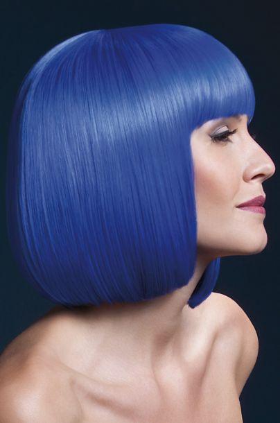 Bob Perücke ELISE, halblang - Neon Blau*