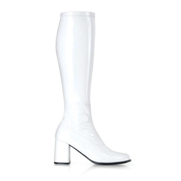 Retro Stiefel GOGO-300 - Lack Weiß