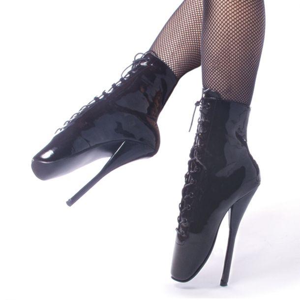 Fetish Heels BALLET-1020 : Lack Schwarz*