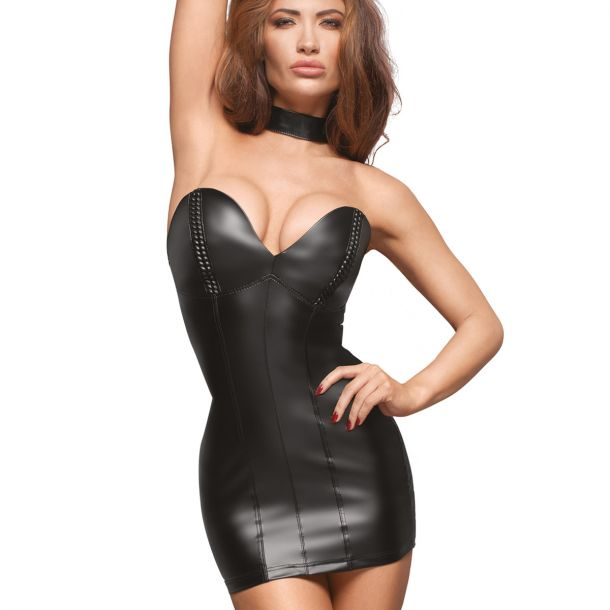 Schulterfreies Power Wetlook Minikleid F172*