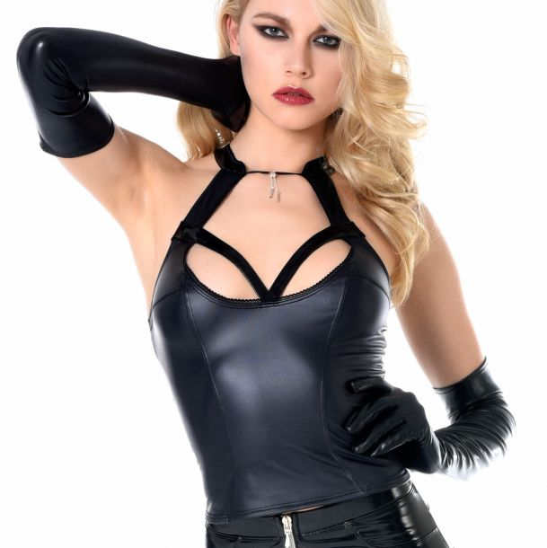Wetlook Top - Schwarz