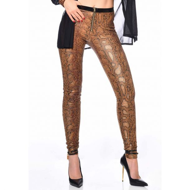 Wetlook Treggings ANN - Schlangenprint Braun