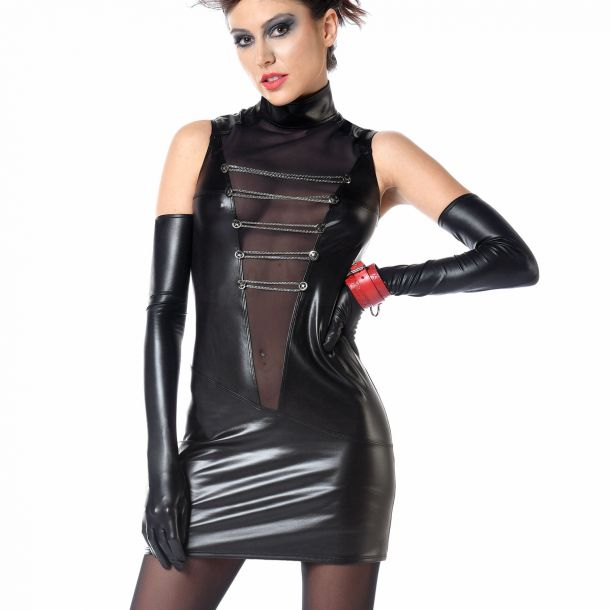 Wetlook Minikleid UZI - Schwarz
