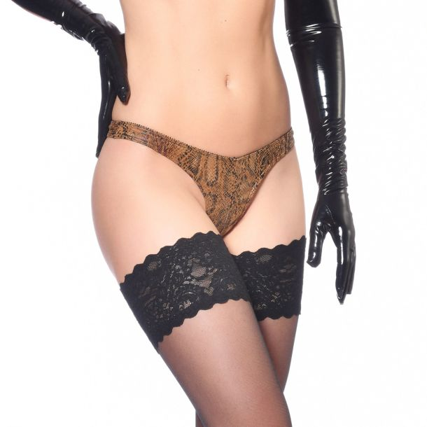 Wetlook String - Schlangenprint Brown
