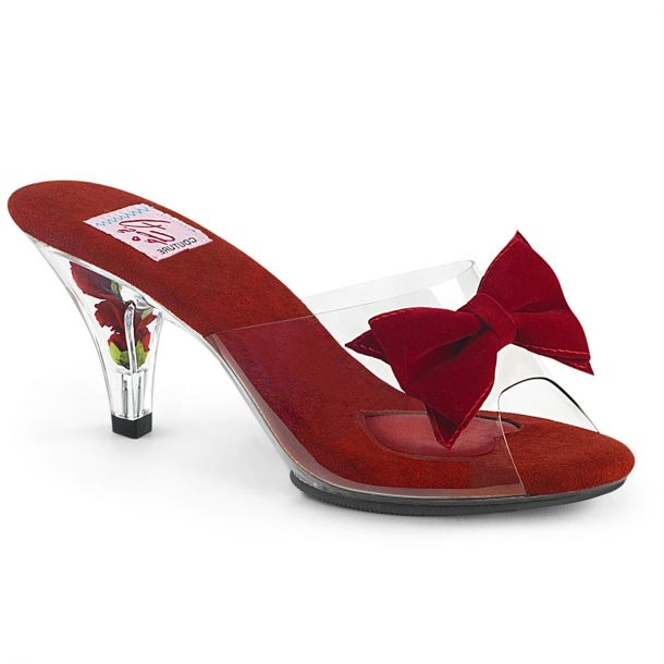 Pantolette BELLE-301BOW - Klar/Rot