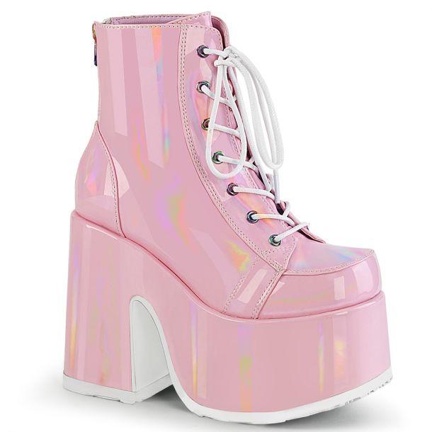 Gothic Stiefelette CAMEL-203 - Baby Pink Hologramm*