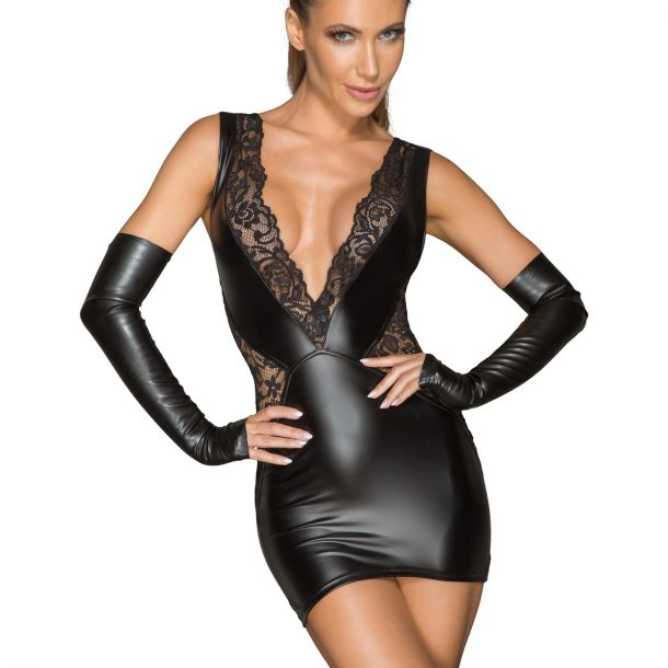 Power Wetlook Spitzen Minikleid F212*