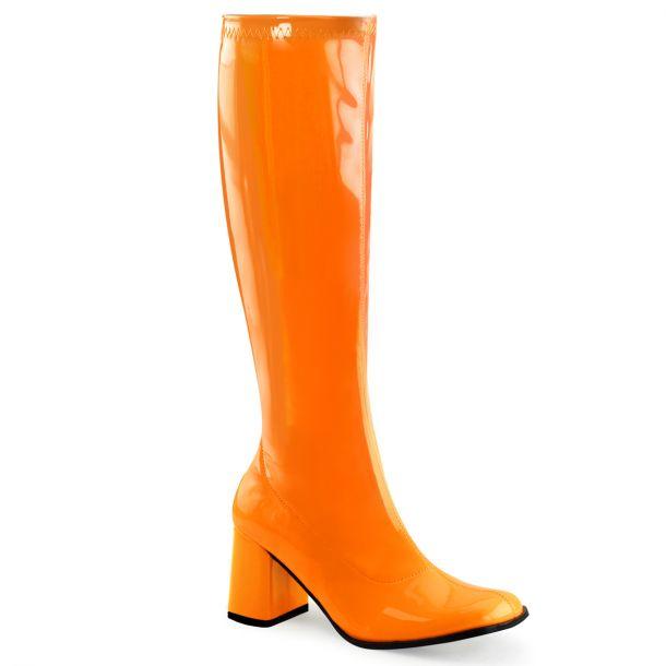 Retro Stiefel GOGO-300UV - Neon Lack Orange*