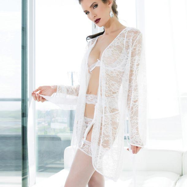 Kimono aus Spitze - Weiß