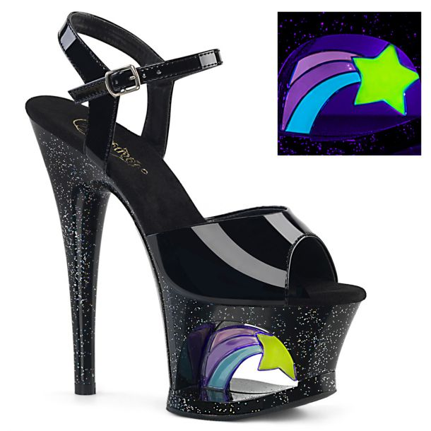 Plateau High Heels MOON-709RSS - Lack Schwarz