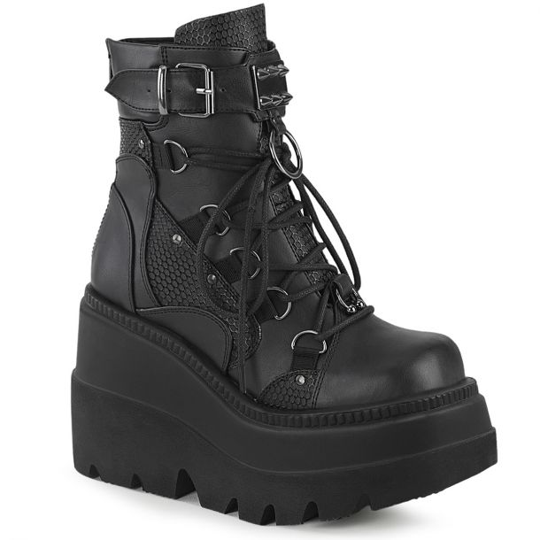 Gothic Ankle Boots (Vegan) SHAKER-60 - Lederimitat Schwarz*