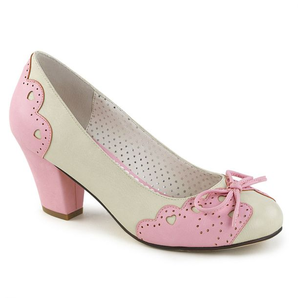 Retro Pumps WIGGLE-17 - Creme/Rosa