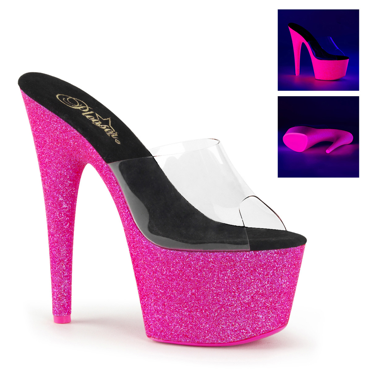 Pleaser SKY-301-5 Damen Plateau Pantolette, Neon Pink, EU 41.5 (US 11)
