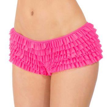Rüschenhöschen Panty mit Schleife - Neon Pink