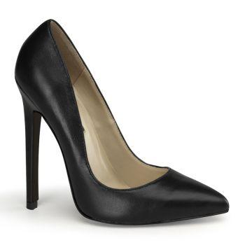 Stiletto High Heels SEXY-20 - Leder Schwarz