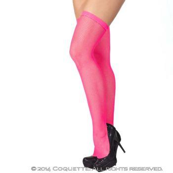 Netzstrümpfe mit schmalem Abschluss - Neon Pink*
