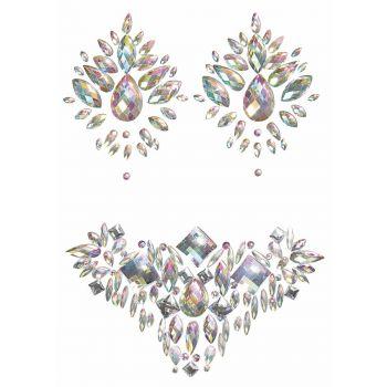 Pasties und Body Jewel Set - Silber Irisierend