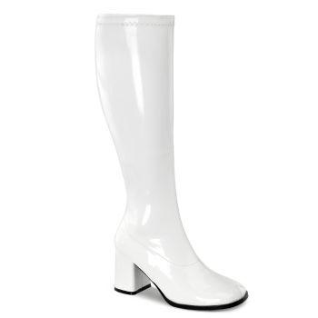 Retro Stiefel GOGO-300WC (Weitschaftstiefel) - Lack Weiß