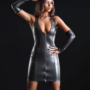 Wetlook Minikleid TAYLOR - Schwarz*