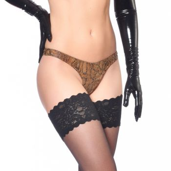 Wetlook String - Schlangenprint Brown*