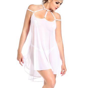 Neckholder Mesh Minikleid - Weiß