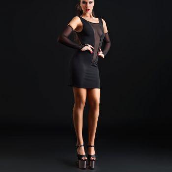 Stretch Mini Kleid OPHELIA - Schwarz