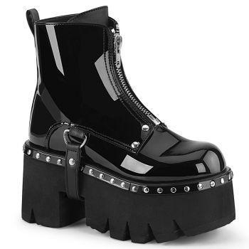 Gothic Ankle Boots ASHES-100 - Lack Schwarz