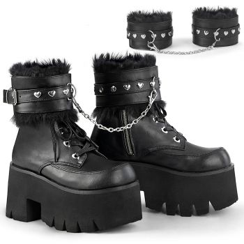 Gothic Ankle Boots ASHES-57 - Lederimitat Schwarz