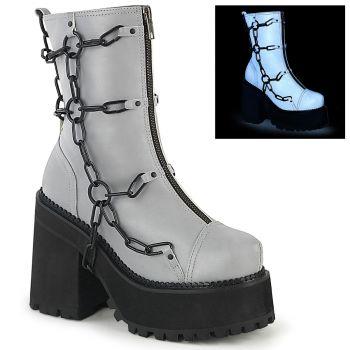 Gothic Ankle Boots ASSAULT-66 - Grau Reflektierend