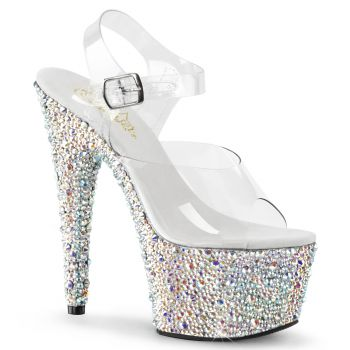Plateau High Heels BEJEWELED-708MS - Silber