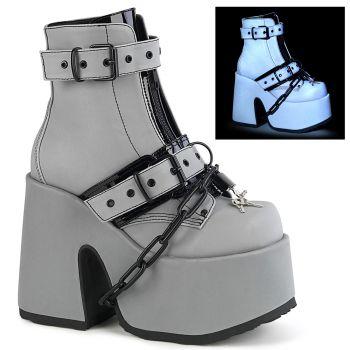 Gothic Stiefelette CAMEL-205 - Grau Reflektierend