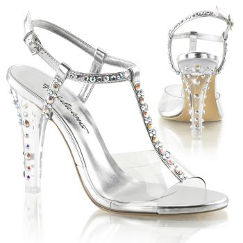 Sandalette CLEARLY-426 - Metallic PU Silber