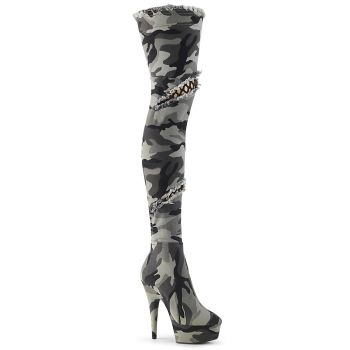 Plateau Overknee Stiefel DELIGHT-3005 - Camouflage