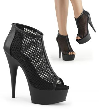 Peep Toe Booties DELIGHT-600-12 - Schwarz
