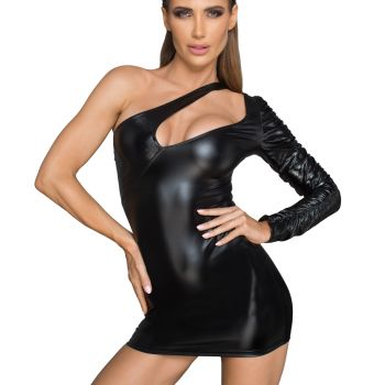Asymmetrisches Power Wetlook Minikleid F199*