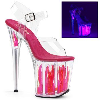 Extrem Plateau High Heels FLAMINGO-808FLM - Neon Pink Flamme