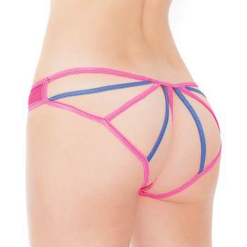 Panty mit offenem Po Bereich - Neon Pink/Blau