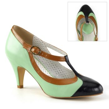 Retro T-Riemchen Pumps PEACH-03 - Grün