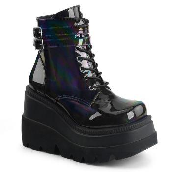 Plateau Ankle Boots SHAKER-52 - Lack Schwarz Holo