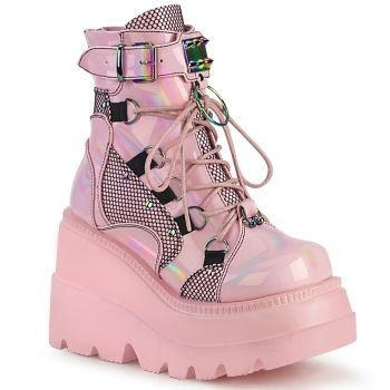 Gothic Ankle Boots  SHAKER-60 - Baby Pink Hologramm*
