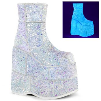 Plateau Ankle Boots STACK-201G - Weiß Multiglitter*