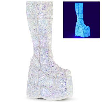 Plateau Stiefel STACK-301G - Weiß Multiglitter