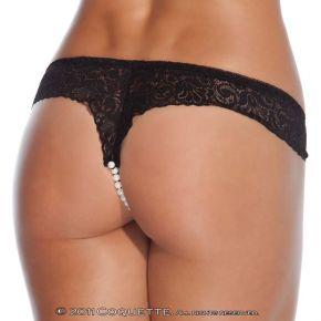 Spitzen Perlen Panty - Schwarz
