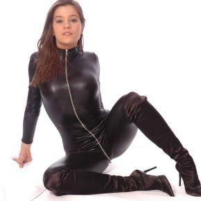 Wetlook Catsuit - Schwarz